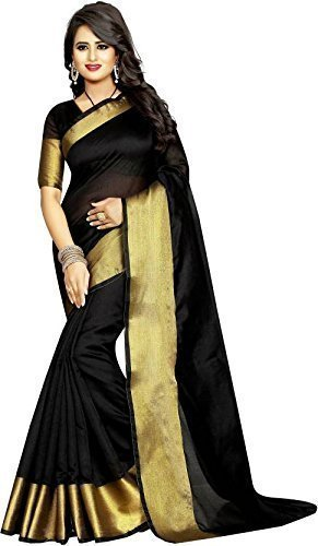 Shadow Export's Women's Khadi Cotton Saree(Multi) (Black)