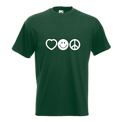 KIWISTAR - Love Happy Peace - Liebe Glück Frieden T-Shirt in 15 verschiedenen Farben - Herren Funshirt bedruckt Design Sprüche Spruch Motive Oberteil Baumwolle Print Größe S M L XL XXL Flaschengruen