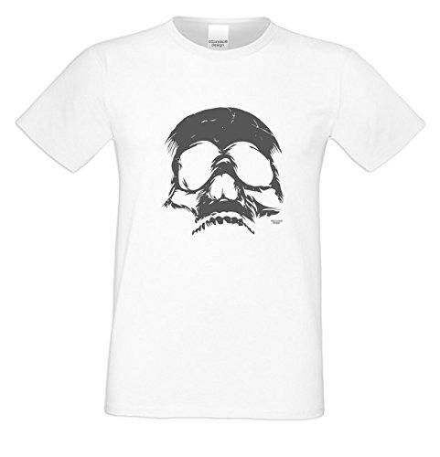 Mega Gruseliges Halloween-Herren-Fun-T-Shirt als Geschenke-Idee Motiv: Skull Farbe: weiss Weiß