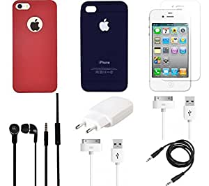 NIROSHA Tempered Glass Screen Guard Cover Case Charger Headphone USB Cable for Apple iPhone 4s - Combo