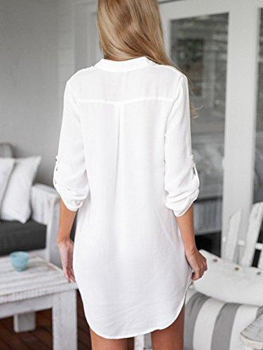 LaoZan Tunique Femme Manches Longues Robe Chemise Top Blouse Col V Mousseline Blanc