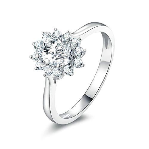 Amody Größe Sterling Silber Ring für Frauen Rund glänzend mit weißen Zirkonia CZ Sonnenblumenform Jubiläums-Ewigkeitsring Größe 57 (18.1) - Ringe Oben Silber Knuckle Für