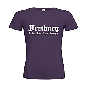 dress-puntos Woman T-Shirt Freiburg Harder, Better, Faster, Stronger 20drpt15-w00062-323 Textil purple / Motiv weiss / Gr. XL