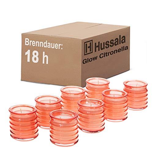 Hussala Glow Citronella Outdoorkerze Glas (rot) - Brennzeit 18 h [8 Stück]