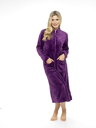 Lussuosa vestaglia in rilievo rosa soffice zip attraverso accappatoio termoattivo soft touch viola prugna