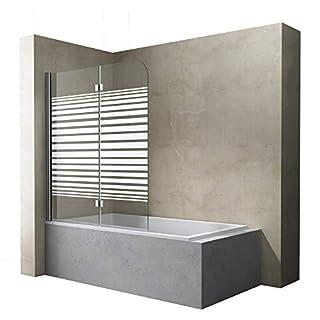 Sogood BxH:120x140 cm Duschabtrennung/Duschwand für Badewanne aus Glas Cortona1408S-Links, Badewannenaufsatz, Wandanschlag links, inkl. Nanobeschichtung, Badewannenfaltwand