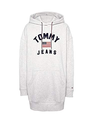 Tommy Jeans Damen Sweatkleid TJW Logo Hoodie Dress Pale Grey THR hellgrau - XS