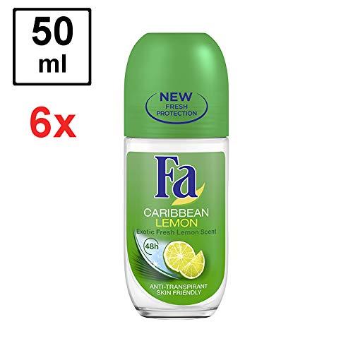 """6 x Fa Deo Roll-on für Frauen""""Caribbean Lemon"""" - 50 ml - Glasflasche"""