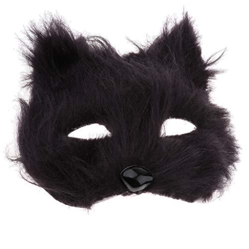 Pelzige Kostüm Schwarze Katze - Baoblaze Tierform Plüsch Cosplay Maske Katzenmaske Cosplay Kostüm Requisiten für Maskerade-Partys, Karneval, Kostümpartys - Schwarzes Pelziges