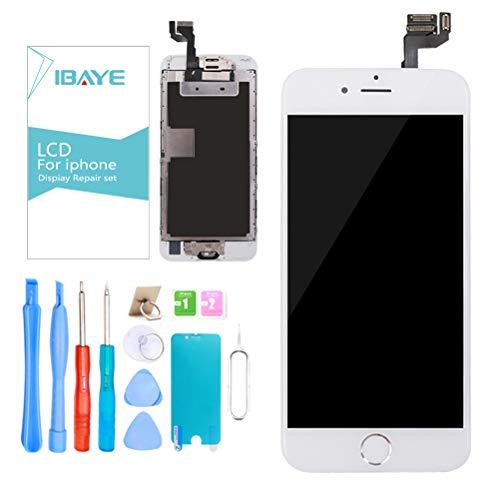ibaye display lcd schermo per iphone 6s bianco (4,7 pollici) touch screen digitizer parti di ricambio (con home pulsante, fotocamera, sensore flex) utensili inclusi