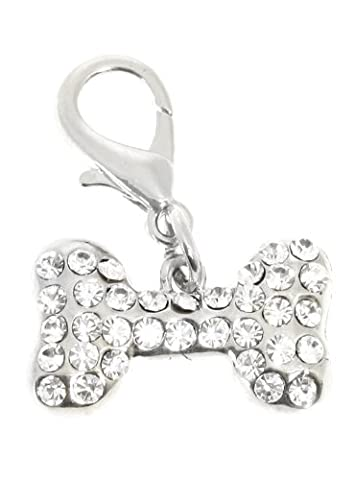 UrbanPup Swarovski Bone Dog Collar Charm (Clear Crystals)