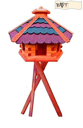 Bird Feeder Garden Ornament Xxxl Vöglehus Birdhouse Bird House Feeder Station With Blue Roof With Stand B60r Red Bgms