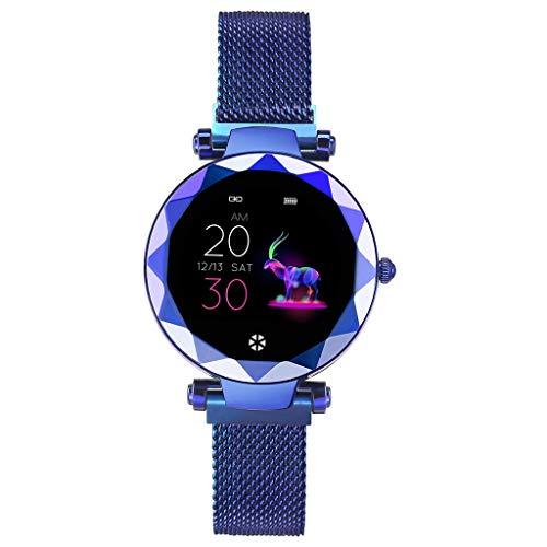 Für Android iOS Weiblich Beobachten Magnet-Armband Facettierter Kreis Mode Schlank Bunte Uhr