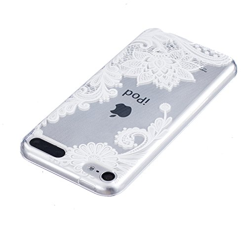 iPod Touch 6th Coque, Aeeque® Fleurs de Dentelle Blanc Dessin Transparent Crystal Silicone Doux TPU Protection Contre les Chutes Case Cover Housse Etui pour iPod Touch 5th/6th Motif #15