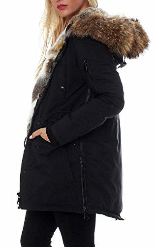 malito Damen Luxus Parka   Winterjacke mit Echtfell   Jacke mit Kapuze   Mantel �?Jackett �?Blouson D2222 Schwarz