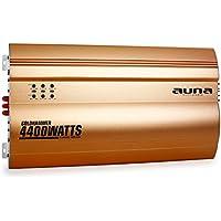 auna Goldhammer amplificador para coche de 4 canales (4.400 W potencia máxima, Super Bass, puenteable, reguladores de sonido en panel frontal, compacto, aluminio) - dorado