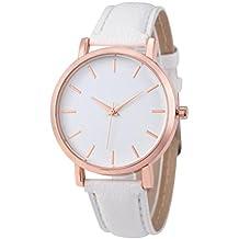HARRYSTORE 2017 Relojes de pulsera de cuero de acero inoxidable hombres simples mujeres de acero analógico cuarzo reloj de pulsera (Blanco)