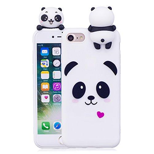 Artfeel Niedlich 3D Karikatur Panda Hülle für iPhone 7,iPhone 8 Hülle, Bunt Schön Tier Muster Weich Silikon Zurück Handyhülle,Ultra Dünn Flexibel TPU Bumper Stoßfest Schutzhülle-Weiß