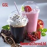 50 x Plastic Milkshake Smoothie Cups + 50 Dome Lids - 14oz 400ml
