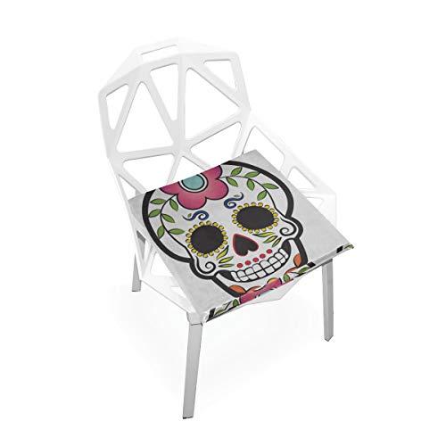 Plsdx Floral Rose Traditionelle Schädel Weiche Rutschfeste quadratische Memory Foam Chair Pads Kissen Sitz für Home Kitchen Esszimmer Büro Rollstuhl Schreibtisch Holzmöbel Indoor 16 X 16 Zoll -