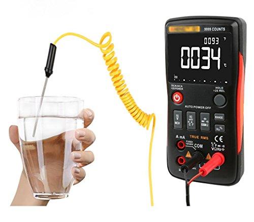 Hycy Digital-Multimeter-Selbstknopf 9999 Zählt mit Analogem Balkendiagramm Wechselstrom-/Gleichspannungs-Amperemeter Strom-Ohm-Transistor-Prüfvorrichtung