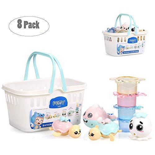 Pedy Badewannenspielzeug Baby Badespielzeug 8 Pack Wasserspielzeug mit 4 Ocean Tiere Spray-Wasser & Schwimmen und 4 Tier-Stapelbecher für Baby Kinder ab 6 Monate (Model 1)