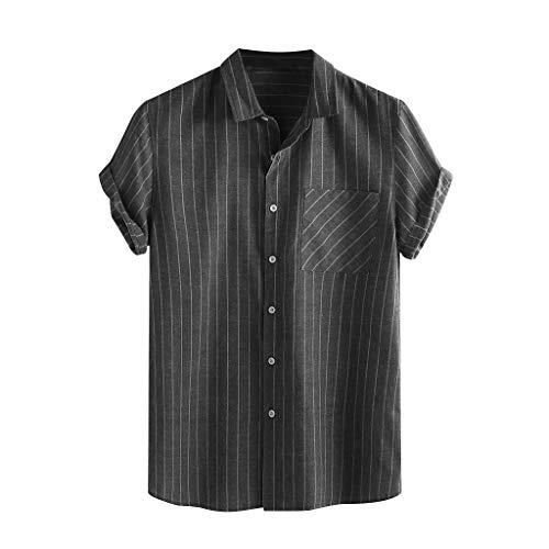 bluestercool_Männer Herren Retro Lässige Kurzarm Oberteile Oversize Kurzarmhemd Weich Lose, Vintage Spleiß Tasche Leinen Kurzarm T Shirts Tops Bluse