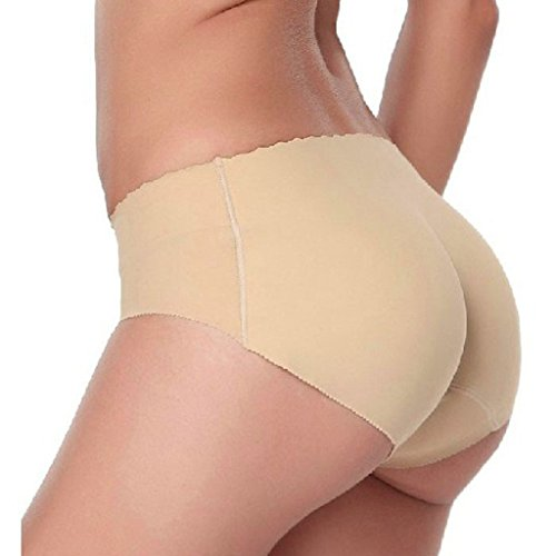 feiXIANG Mode Dame Traceless Gesäß plus Pad Gesäß Pad Esel Gesäß Hüfte Gesäß Unterwäsche Padded Seamless Hintern Hüfte Enhancer Shaper Panties Unterwäsche (Fleisch, L) (Brief Satin-hip)