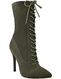 2575f1f72514 Neuf Pour Femmes Lacet Velours Talon Haut Aiguille Bottine Chaussures De  Soirée Taille