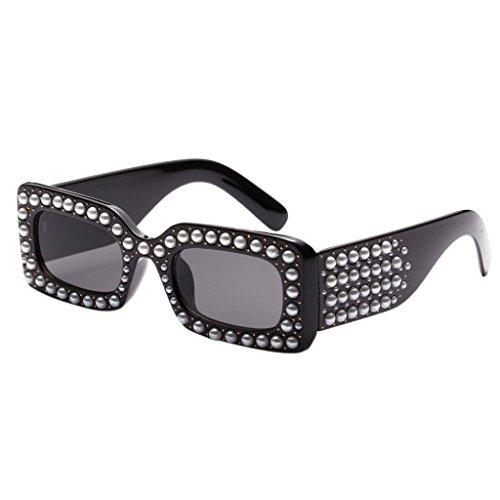 Fenteer Diamante Damen Polarisierte Sonnenbrillen UV-Schutz Gläser Eyewear Schutzbrillen - Schwarzes Rahmen-Grau-Objektiv