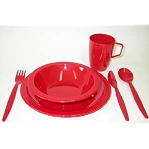 41t1L71jLsL. SS300  - Harfield Camping Tableware Set - Plate, Bowl, Beaker and Cutlery - Red