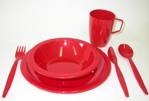 41t1L71jLsL - Harfield Camping Tableware Set - Plate, Bowl, Beaker and Cutlery - Red