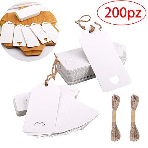 Gudotra 200pz carta kraft bianco con 20m spago in iuta per matrimonio regali di natale pacchettini regalo