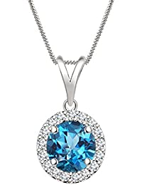 "Silvernshine 7mm Blue Topaz & Sim Diamond Halo Pendant 18"" Chain In 14K White Gold Fn"