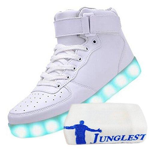 (Présents:petite serviette)JUNGLEST® 7 Couleur Homme Femme USB Charge Lumière Lumineux Clignotants Ch Blanc