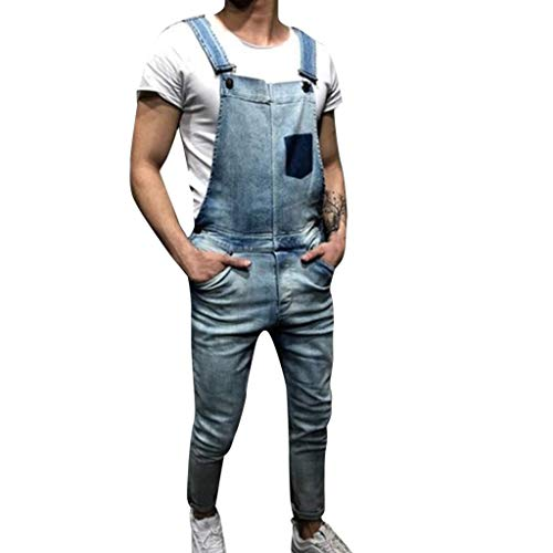 STRIR-Ropa Peto Corte Ajuste Holgado Pantalón Chandal Hombre Mono Vaquero Mezclilla Jumpsuit Casual Pantalones con Agujeros Suelto para Hombre Roto con Peto Tirante con Bolsillos (XL, Azul#0506)