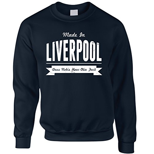 (Tim And Ted Heimatstadt Stolz Unisex-Pullover Made in Liverpool Banner Navy Medium)