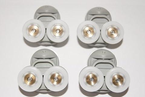 4 x Twin Spare Shower Door ROLLERS /Runners/Wheels 19mm grooved wheel L3