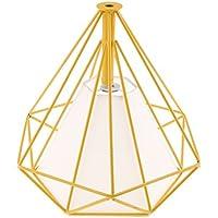 perfk Cubierta de Luz Jaula de Bombilla Techo De Diamante Geométrico Lámparas de Sombra Techo Colgante - Dentro Amarillo Jaula Blanco