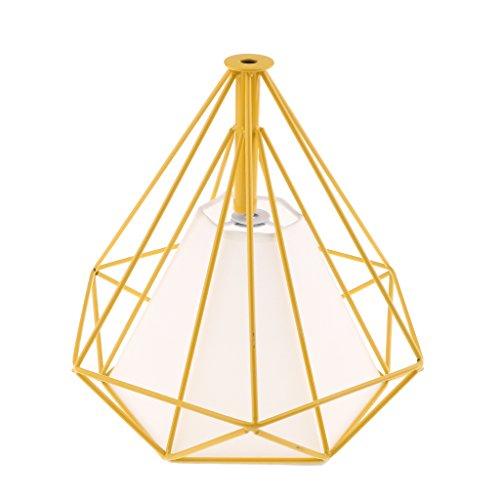 MagiDeal Abat-jour Suspension Géométrique Forme en Diamant Lampe au Plafond Décoration - Couverture jaune-blanche