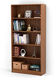 Bluewud Alex Wall Book Shelf/Home Decor Display & Storage Rack Cabinet Unit (Walnut, 5 Shel