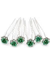 6 pasadores de cristal austriaco verde en forma de flor para el cabello/rosa en tono plata para Novia/Boda/Baile de graduación.