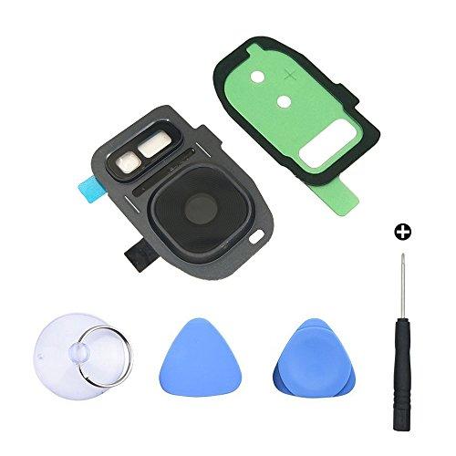 Cemobile Für Samsung Galaxy S7/S7 Edge Rückkamera Hinter Kamera Glas linse Abdeckung Kameraobjektiv mit Klebstoff + Vorinstallierter Blitzdiffusor + Reparatur Werkzeug Kit (Schwarz)