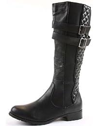 shoefashionista - Bottes Femme Cavalieres Plates Mollet Motardes Noir Chaussures Taille