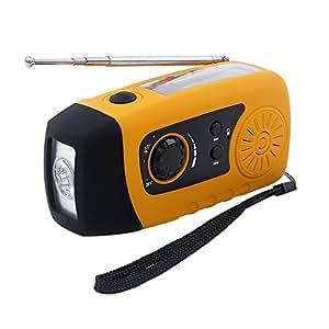 IntiPal Kurbeldynamo Solar Radio Solarradio mit Kurbel LED Taschenlampe Notfall USB Handy Ladegerät Camping Outdoor (Gelb Stil B)