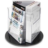 Deflect-o 76801 - Soporte giratorio para folletos (3 compartimentos, 1/3 de A4), transparente