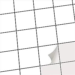 creatisto Fliesenmuster Deko-Folie Fliesen Fliesensticker Bad | Vinyl Fliesen-Folie Sticker Aufkleber selbstklebend Badezimmer renovieren Küche Dekoration | 15x15 cm - Motiv Weiß - 40 Stück