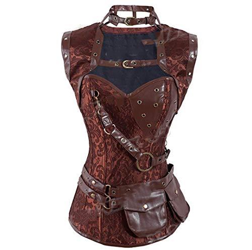 Tigeashost Sexy Korsetts und Bustiers Gothic Korsett Steampunk Kleidung Damen Plus Size Burlesque Kostüme Brown 01 XXXL (Burlesque Kostüm Geschichte)