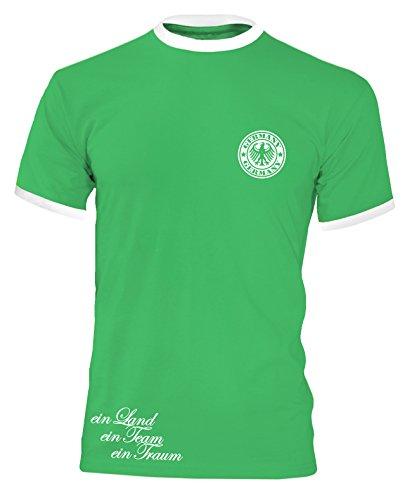 Luckja EM 2016 Trikot Deutschland Fanshirt Retro-Look Motiv 5 Herren Rundhals T-Shirt Gruen/Weiss