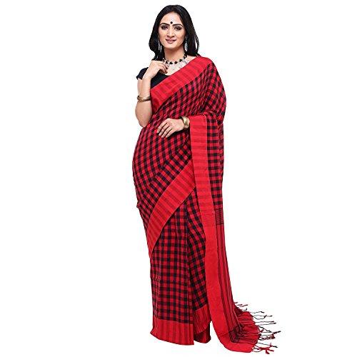 Tjsarees Khadi Saree (TJ500063_Red_Free Size)